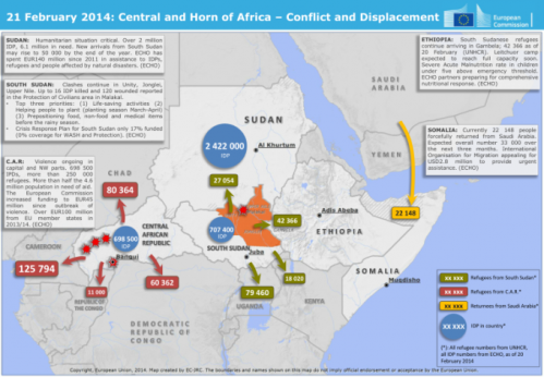 Source: http://reliefweb.int/map/south-sudan/21-february-2014-central-and-horn-africa-conflict-and-displacement